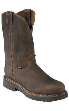 Justin® Original Workboots™ Men's Rugged Bay Gaucho Brown JMAX Steel Toe Pull On Boot