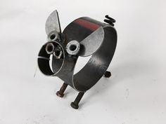 Scrap Metal Pig Sculpture - Recycled Metal