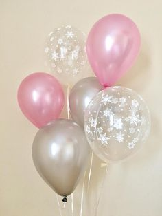 Pink and Silver Snowflake Latex BalloonsWinter Onederland
