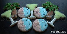 Luau/Beach/Wedding party favors - 12 rolled sugar cookies