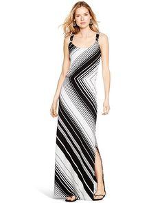 Sleeveless Bias Stripe Maxi Dress