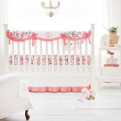 Our coral crib bedding is beautiful for a baby girl's nursery! Featuring a stunning floral watercolor print this coral baby bedding is made in the USA! Coral Baby Bedding, Girl Crib Bedding Sets, Coral Nursery, Crib Sets, Crib Rail Cover, Floral Crib Sheet, Nursery Design, Cribs