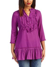 This Plum Ruffle Notch Neck Top - Women by Lazy Daisy is perfect! #zulilyfinds