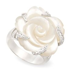 JanKuo Jewelry Rhodium Plated Carved Mother of Pearl Flower with Cubic Zircon... #JanKuoJewelry