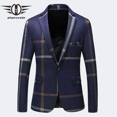 High Quality Blazers For Men Brand Clothing Dark Blue Grey Blazer Masculino Slim Fit Casual Suit Jacket Plus Size Blazers For Men Casual, Casual Suit Jacket, Casual Blazer, Plus Size Blazer, Dark Blue Grey, Striped Blazer, Mens Suits, Jackets