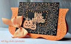 handmade Halloween card ... shaped card base in orange with a black rectangle focal point panel reaching above the fold ... luv, luv, luv the look of Coordinations papers embossed with intricate filigré designs and the sanded ... perfect Halloween look and not scary at all ... great card!