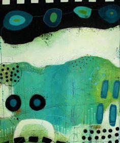 JANNE JACOBSEN - tidligere værker. Flotte farverige malerier i forskellige størrelser med kontraster, små skriverier og små snirkler og forme.
