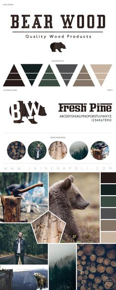 New launch from the Branding Studio. Bear Wood Carpentry. Bear browns, forrest greens, lumberjack vibes, masculine themed mood board. Smell the fresh air! Logo Design. Rustic Wood Furnishings. Masculine Branding. Laine Napoli Branding http://www.lainenapoli.com #moodboard #palettes #color #design #inspiration