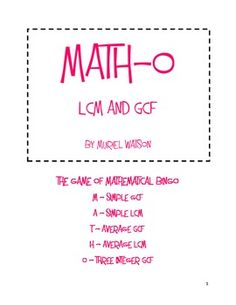 "What a fun way to practice lots of LCM and GCF! ""Math-o"" is a mathematical bingo activity that can be used within a lesson, as center activity, and even as a review. Send the math-o cards home as an assignment or use the cards for a cooperative learning activity.In this pack are 20 different Math-o cards and 50 ""call slips"" for when you are playing the game. (Each correct answer for the card will correspond to a call slip, such as ""M 4"".) Additionally, I have added a page of covering slips…"
