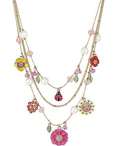 Betsey Johnson - FLOWER LADYBUG MULTI CHARM NECKLACE MULTI accessories jewelry necklaces fashion