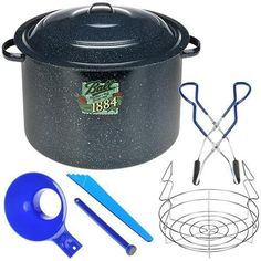 Ball Enamel Water Bath Canner, Including Chrome-Plated Rack and 4-Piece Utensil Set