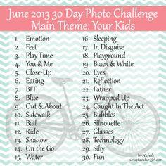 Scraptacular Girl: Your Kids 30 Day June Photo Challenge