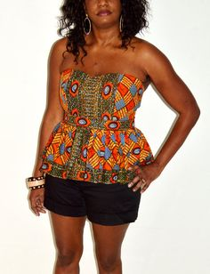 Orange And Gold African Print Bustier Blouse by ZabbaDesigns, $30.00