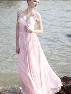 Frosted Pink Evening Dress with Jewel Encrusted Sleeves