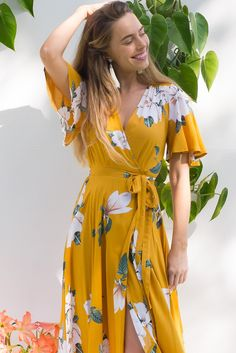 Petal Gardenia Gold Maxi Wrap dress with flutter sleeves in a vibrant gold and white romantic gardenia flower print Maxi Wrap Dress, Maxi Dress With Sleeves, Maxi Dresses, Ootd Fashion, Retro Fashion, Fashion Outfits, Retro Style, Boho Style, Boho Wedding Dress