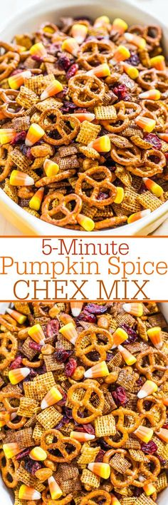 5-Minute Pumpkin Spice Chex Mix - Two kinds of Chex, peanuts, pretzels, dried cranberries, and candy corn! Dangerously fast, super easy, and SO.CRAZY.GOOD!!