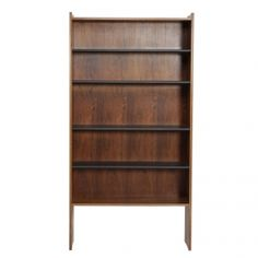 Bookcase with leather covered shelves by Grete Jalk