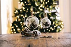 Create a snow globe-inspired ornament with a simple plastic snap-together sphere filled with pinecones and evergreen boughs gathered from your yard. Get the tutorial from Michaels.    - CountryLiving.com