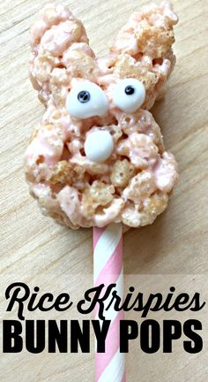 These easy Easter Bunny Pops are the perfect Rice Krispies treats on a stick. This fun Easter dessert combines an Easter craft into dessert. If you're looking for simple Easter ideas that can double as Easter decorations, look no further than these simple bunny pops. This activity was sponsored by Rice Krispies.