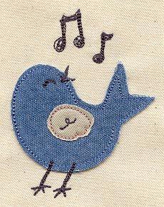 49 Trendy Ideas For Embroidery Heart Urban Threads Bird Applique, Machine Embroidery Applique, Hand Embroidery Designs, Applique Designs, Embroidery Patterns, Quilt Patterns, Denim Crafts, Felt Crafts, Blue Jean Quilts