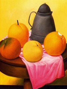 Naturaleza muerta con frutas. Fernando Botero, Pintor Colombiano