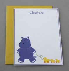 Purple Hippo Baby Shower Thank You A2 Flat Note Cards by RatDogInk, $17.00