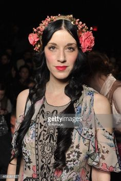 Sarah Sophie Flicker attends the Anna Sui Show during Mercedes-Benz Fashion Week Fall 2014 at The Theatre at Lincoln Center on February 2014 in New York City. Anna Sui, Vintage Bohemian, Mercedes Benz, Boho Chic, Fashion Beauty, Hair Makeup, Poses, Lincoln Center, February 12