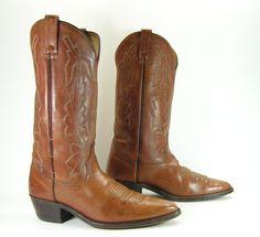 Dan Post vintage cowboy boots mens 9 D brown by vintagecowboyboots