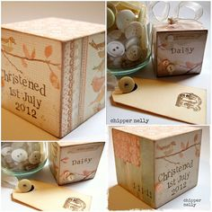 Wooden Christening Block with little bird and buttons