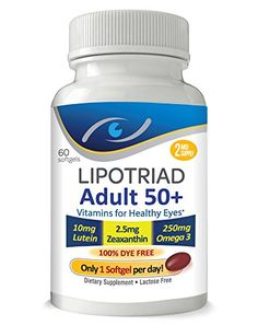 Lipotriad Adult 50 Eye Vitamin  Mineral Supplement w10mg Lutein Zeaxanthin Omega 3 Vitamin C E Zinc Copper Helps keep eyes healthy Dye Free  1 Per Day 2mo Supply 60 Softgels *** Want to know more, click on the image. (Note:Amazon affiliate link)