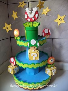 Super Mario Bros by * * * e.v.a. é meu VÍCIO* * *, via Flickr .... cute decoration for Super Mario Bros party.