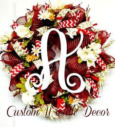 "25"" Country Burgundy Monogram Floral Wreath, Floral Wreath, Monogram Wreath, Everyday Wreath, Fall Wreath"