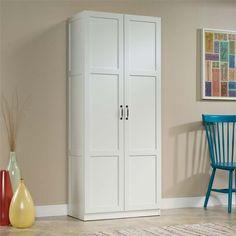 Sauder White Storage Cabinet 419636 - The Home Depot Pantry Storage Cabinet, White Storage Cabinets, Door Storage, White Cabinets, Kitchen Storage, Storage Spaces, Kitchen Pantry, Cupboards, Kitchen Ideas