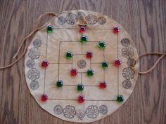 Celtic Nine Man Morris Game on Leather Hand Made by treasurecast, $11.98