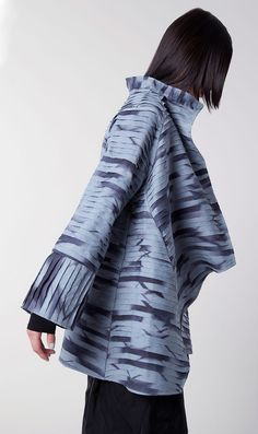 Layered Modern Asymmetrical Coat Hand-dyed itajime shibori, handkerchief linen, hand-cut layers, stitched, pieced