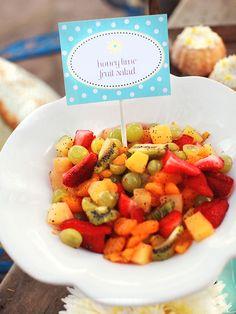 NOTES: Make dressing ahead of time, make salad Sunday Honey Lime Fruit Salad