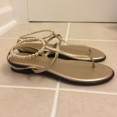 "Italian Shoemakers Shoes - Italian Shoemakers gold ""danube"" sandals"