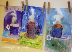 U nás na kopečku: horký čaj Winter Art Projects, Projects To Try, Christmas Activities, Art Plastique, Art Education, Crafts For Kids, School, Painting, Kid