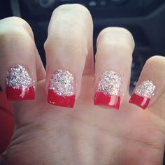 Red and silver glitter nails!