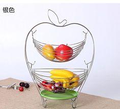 Fruit Hängekorb – Home Kitchen – Elegant 2 Etagen Apple Form Deko-Schale Design stehen – Frisches Obst & Gemüse stehend Aufbewahrung Halter Container – abgestuftes Organizer für Obst Gemüse, silber