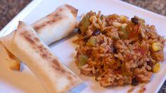 Southwestern Egg Rolls with Cheesy Amazing Mexi Rice