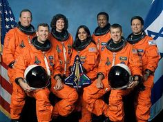 Columbia's STS-107 Crew - Front from left: Rick Husband William McCool. Standing from left: David Brown, Laurel Clark, Kalpana Chawla and Michael Anderson and Ilan Ramon. The entire crew was lost on February 1, 2003, during re-entry when Space Shuttle Columbia disintegrated over northern Texas.