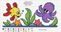 This Pin was discovered by Meh Cross Stitch Sea, Cross Stitch For Kids, Cross Stitch Borders, Cross Stitch Animals, Counted Cross Stitch Patterns, Cross Stitch Charts, Cross Stitch Designs, Cross Stitching, Diy Embroidery