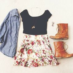 floral jacket shirt denim jewelry skirt shoes brown boots boots denim jacket button up black crop top floral skirt bow hair bow crop top bro...