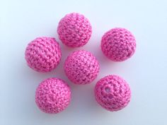 20mm Crochet Beads  Set of 6  Hot Pink by ChangoSupplies on Etsy