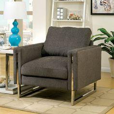 SKU cm6815 contemporary arm chair, square arm, seat cushion, chrome legs.