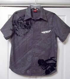 "FLY RACING ROADSTER BUTTON UP SHIRT - ""DETERMINATION RACING"" GRAPHIC SIZE M…"
