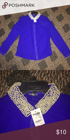FANCY BLOUSE😱 Sheer embellished blouse. Very cute. Never worn. Charlotte Russe Tops Blouses