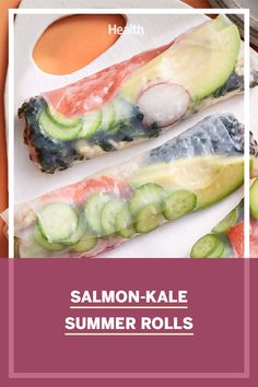 Shake up supper with these fresh and fun-to-eat rolls, made with salmon, brown rice, and lots of cool, crunchy veggies. Healthy Eating Recipes, Healthy Snacks, Salmon Roll, Summer Rolls, Thing 1, Health And Fitness Tips, Healthy Summer, Omega 3, Brown Rice
