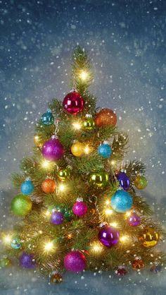Ideas for vintage christmas tree wallpaper Christmas Scenes, Noel Christmas, Vintage Christmas Cards, Christmas Greetings, Winter Christmas, Xmas, Christmas Ornaments, Holiday Wallpaper, Christmas Images Wallpaper